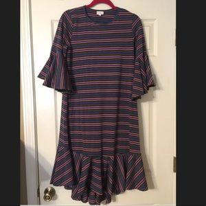 LuLaRoe Maurine Dress L Ruffle Bell Striped Flare